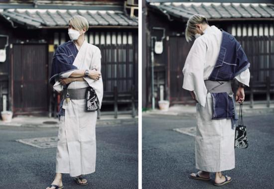 京都で着るアートストール(デニムANGEL)と浴衣男子